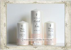 img8870 Romantic Peach Lace Wedding Candle Set of 3