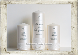 img8987 Romantic Antique White Lace Set of 3 Wedding Candles
