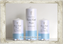 img8281ses Powder Blue Baptism Candle Set of 3