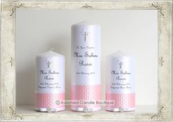 img8285ses Powder Pink Baptism Candle Set of 3