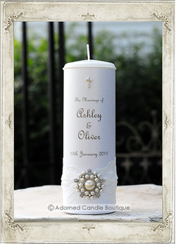 img7248fs Touch of Pearls Wedding Candle