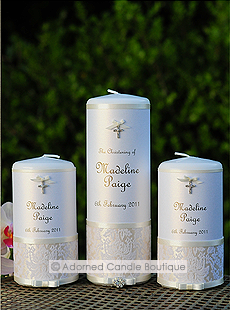 Glamorous Pearl Christening Candle Set of 3