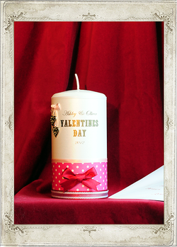 img5445fs Polka Dot Pink Valentine's Day Candle Single