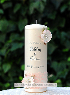 Romantic Vintage Rose Wedding Candle