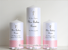 Powder Pink Set of 3 Baptism Candles