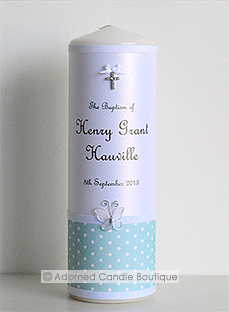 Dotty in Seafoam Baptism candle