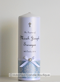 Classic Blue Baptism Candle