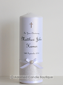 Classic Pearl Christening Candle