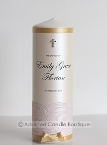Dusty Pink and Gold Baptism Candle
