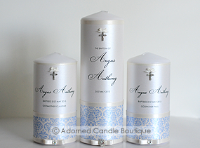 French Blue Set of 3 Christening Candles