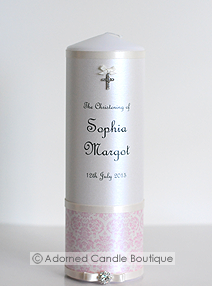 French Pink Christening Candle