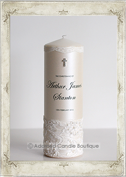 img2-0636 White Lace Christening Candle