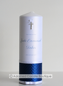 Royal Blue Baptism Candle