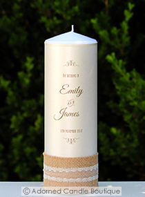 Rustic Vintage Wedding Candle