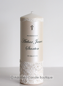 White Lace Christening Candle